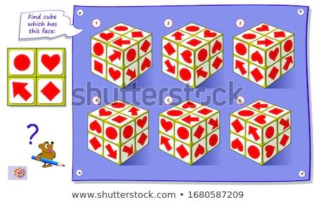Spel vinden kubus onderwijs kinderen puzzel Stockfoto © Olena
