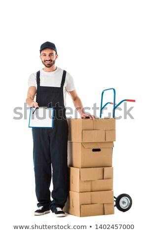 Travailleur carte vierge camion homme entrepôt Photo stock © IS2