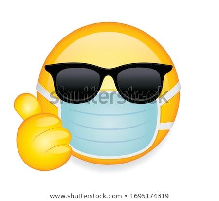Gülen sarı karikatür yüz karakter güneş gözlüğü Stok fotoğraf © hittoon