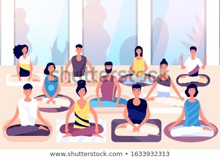 Lótusz pozició jóga ül póz tevékenység Stock fotó © robuart
