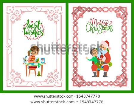 Girl Making Postcard, Best Wishes Santa and Kid Stock photo © robuart