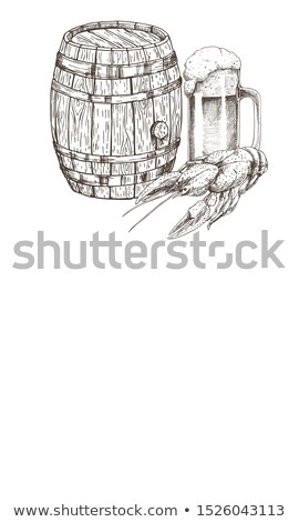 Wood Ale Firkin and Beer Mug with Crawfish Poster Stock photo © robuart