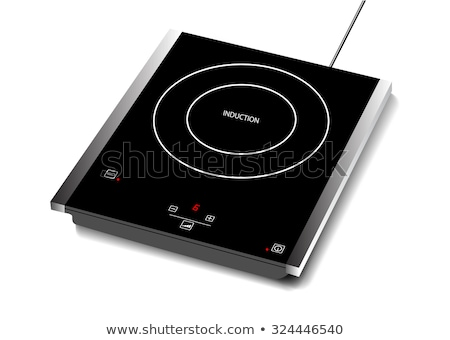 Modern kitchen surface of new electrical stove with clock indicator and textile towel on it. Photo w Stock photo © artjazz