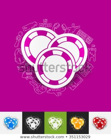 Játékos kaszinó zsetonok kézzel rajzolt skicc firka ikon Stock fotó © RAStudio