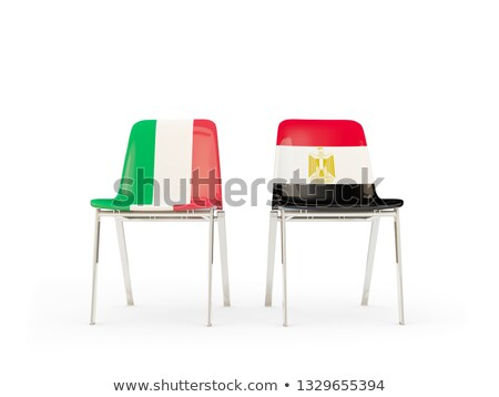 Two chairs with flags of Italy and egypt Stock photo © MikhailMishchenko
