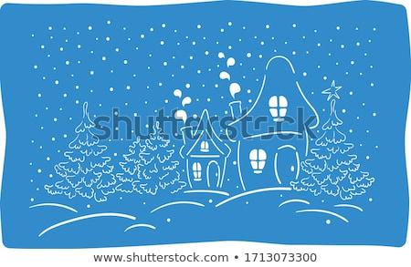 Weinig dorp christmas Blauw winter Stockfoto © liolle