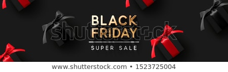 black friday sale banner poster logo golden color on dark background design with realistic black stock photo © ikopylov