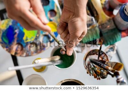 penseel · Blauw · hout · top · textuur - stockfoto © pressmaster