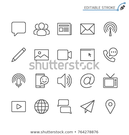 Media communicatie iconen hoog kwaliteit icon Stockfoto © Solid