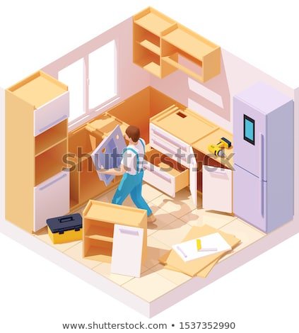 Vettore isometrica cucina mobili installazione nuovo Foto d'archivio © tele52