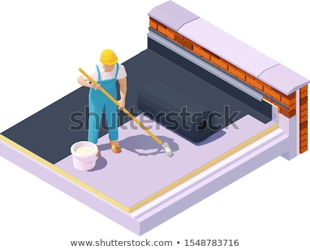 Vector isometric worker at flat roof insulation Stock photo © tele52