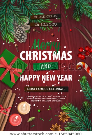 Merry Christmas banner, Xmas Party with gifts box, green pine branches, candy stick, anise, candles, Stock photo © ikopylov