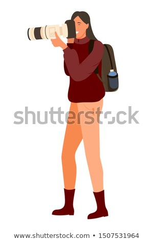 Woman with Professional Full HD Camera, Backpack Stock photo © robuart