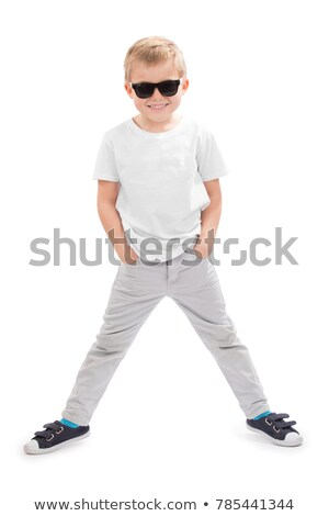 Blond Dancing Young Man in T-Shirt, Modern Jeans Stock photo © robuart