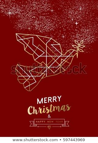 クリスマス 金 アールデコ 鳩 赤 ストックフォト © cienpies