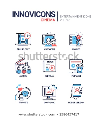 Cinema online - vector line design style icons set Stock photo © Decorwithme