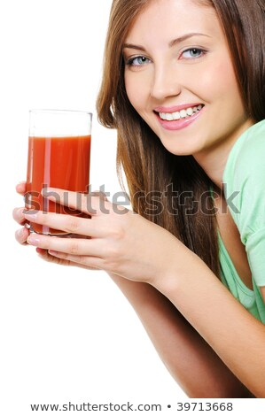 Jonge vrouwelijke glas tomatensap witte meisje Stockfoto © Lopolo