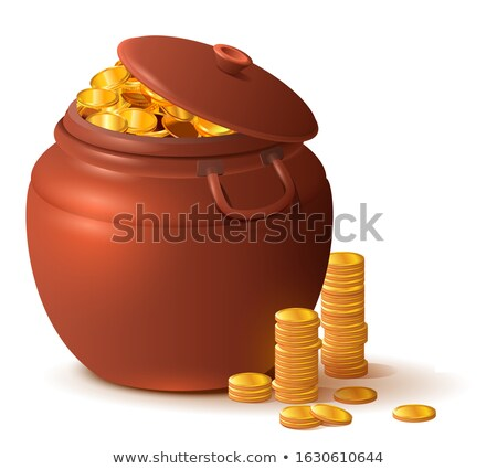 Large close ceramic pot with lid full of gold coins Stock photo © orensila