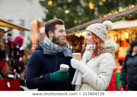 Natal feira cidade casal caminhada café Foto stock © robuart