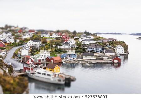 海岸 ミニチュア 村 木製 光 家 ストックフォト © ivonnewierink
