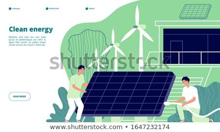 Energii przechowywania lądowanie strona baterii Zdjęcia stock © RAStudio