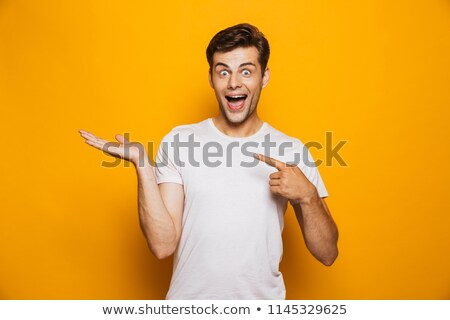 человека указывая копия пространства изолированный желтый Сток-фото © benzoix