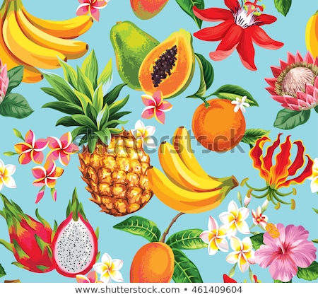 Tropical fruits seamless vector pattern Stock photo © barsrsind