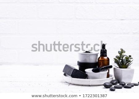 Szett fekete faszén detoxikáló kozmetika bőrápolás Stock fotó © furmanphoto