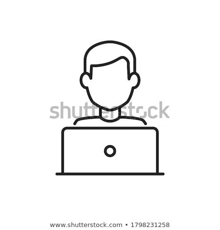 Schriftsteller Laptop Symbol Vektor Gliederung Illustration Stock foto © pikepicture