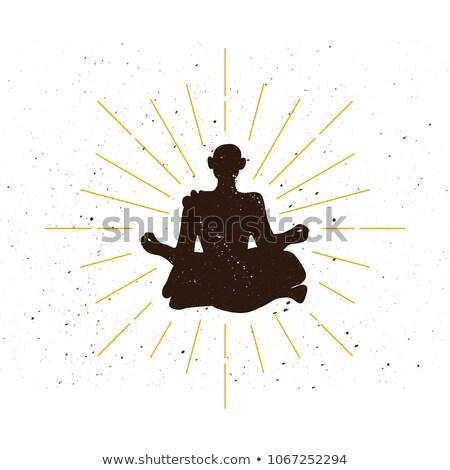 Retro buddhista szerzetes sziluett jóga fitnessz Stock fotó © barsrsind