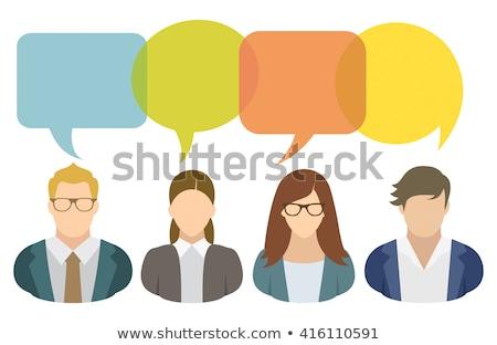Stock fotó: Fiatalok · szövegbuborékok · számítógépek · sok · különböző · színes