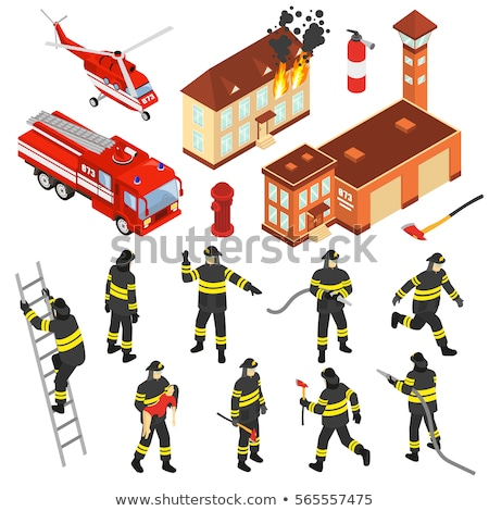 Building And Flame Heating Equipment isometric icon Stock photo © pikepicture
