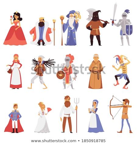 Foto stock: Medieval · caballero · ruso · dibujo · caballo