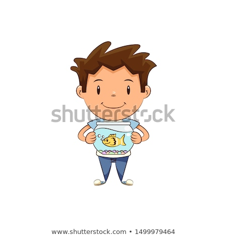 Boy holding fish stock photo © phila54