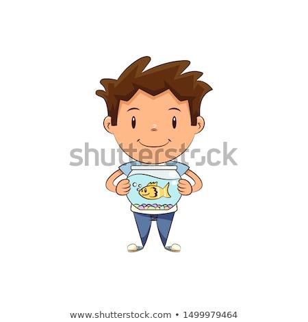 Boy holding fish Stock photo © phila54