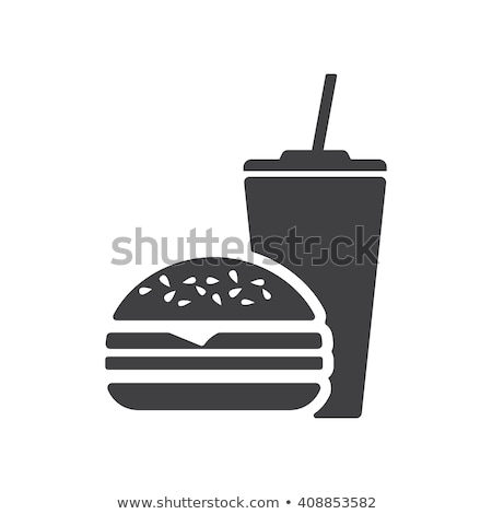 hamburger · illustration · isolé · blanche · dîner · noir - photo stock © sahua