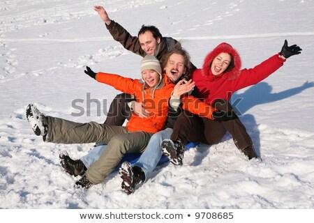 csoport · barátok · ül · műanyag · hó · nő - stock fotó © Paha_L