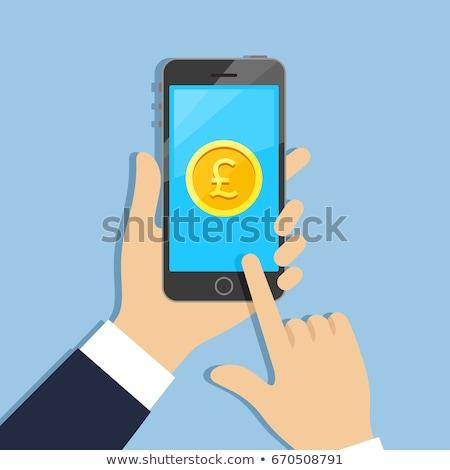 Сток-фото: телефон · фунт · мобильных · оплата · деньги · символ