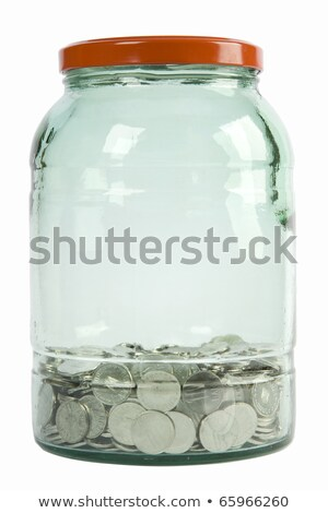 Foto stock: Vidrio · jar · plata · dólar · dentro · blanco