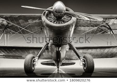 Retro aviación guerra vuelo nublado cielo Foto stock © sahua