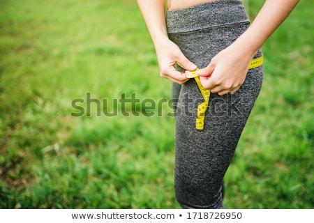 女性 大腿 孤立した 白 手 フィットネス ストックフォト © Nobilior