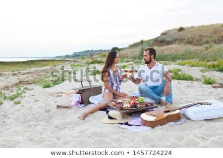 Photo stock: Couple · potable · rose · vin · heureux