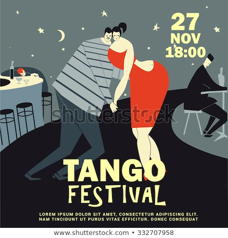 Tango çift poster vektör kız adam Stok fotoğraf © Galyna