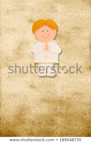 vertical · tarjeta · primera · comunión · funny · rubio · nino - foto stock © marimorena