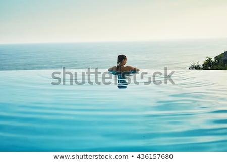 nő · úszik · szabadtér · medence · mosolygó · nő · mosolyog - stock fotó © maridav