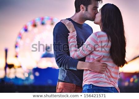 mutlu · öpüşme · gülümseme · sevmek - stok fotoğraf © get4net