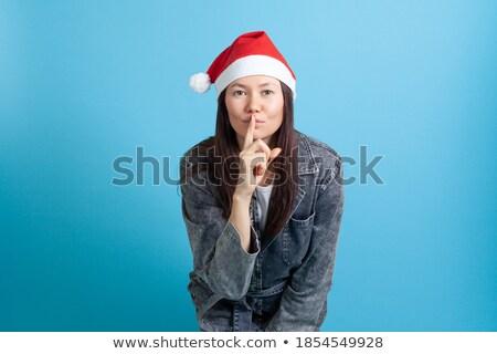 沈黙 · 女性 · 指 · 唇 · 幸せ - ストックフォト © photography33
