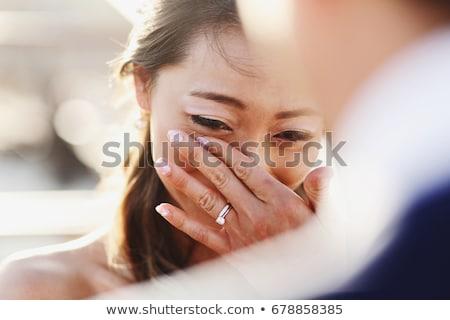 Mariée marié regarder sur océan permanent Photo stock © chrascina