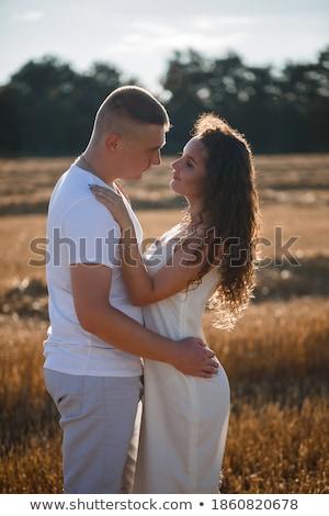 愛する · 魅力的な · カップル · 乾草 · 俵 - ストックフォト © chrascina