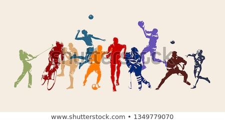 voleibol · silhuetas · mulher · menina · homem · fitness - foto stock © kaludov